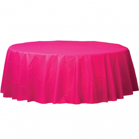 Magenta plastic round tablecover 2.1m