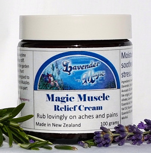 Magic muscle relief cream, made in New Zealand by Lavender Magic