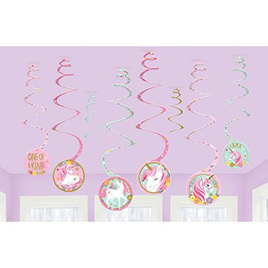 Magical unicorn swirl decorations