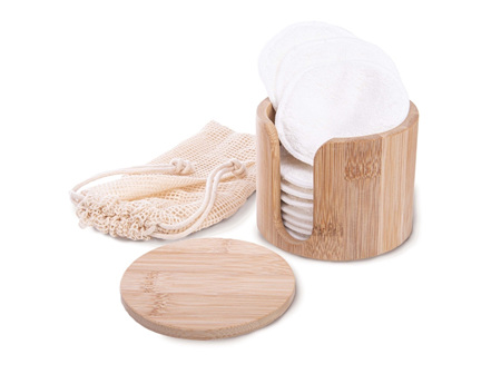 Makeup Removing Pads in Bamboo Box Natural H89xW102xD102mm