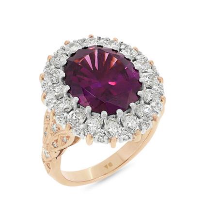 Malaia Garnet and Diamond Ring
