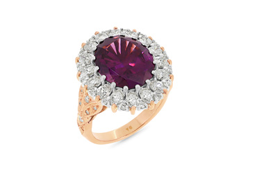 Malaia Garnet and Diamond Ring