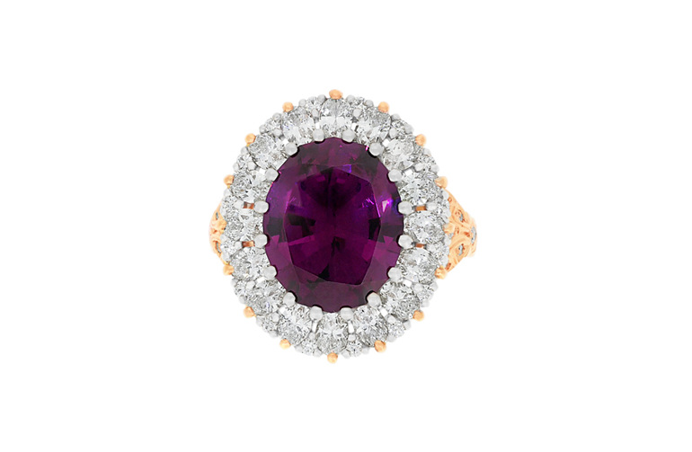 Malaia Garnet and Oval Diamond Cluster ring