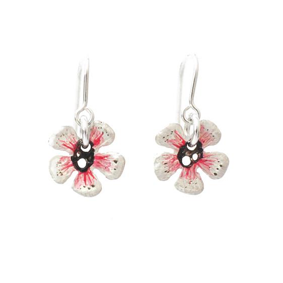 manuka flower pink white native nz flower sterling silver earrings