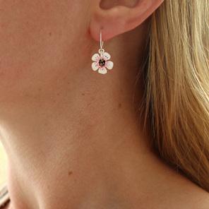 manuka flower white pink earrings sterling silver floral botanical nature native