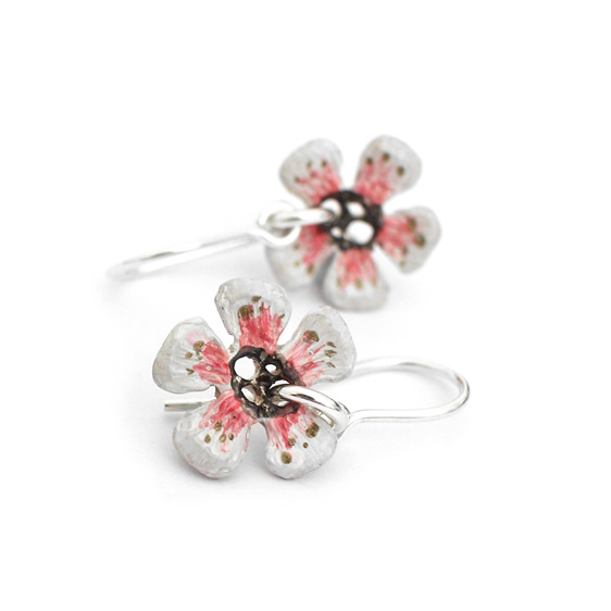 manuka flower white pink flower earrings silver sterling spring nature bee