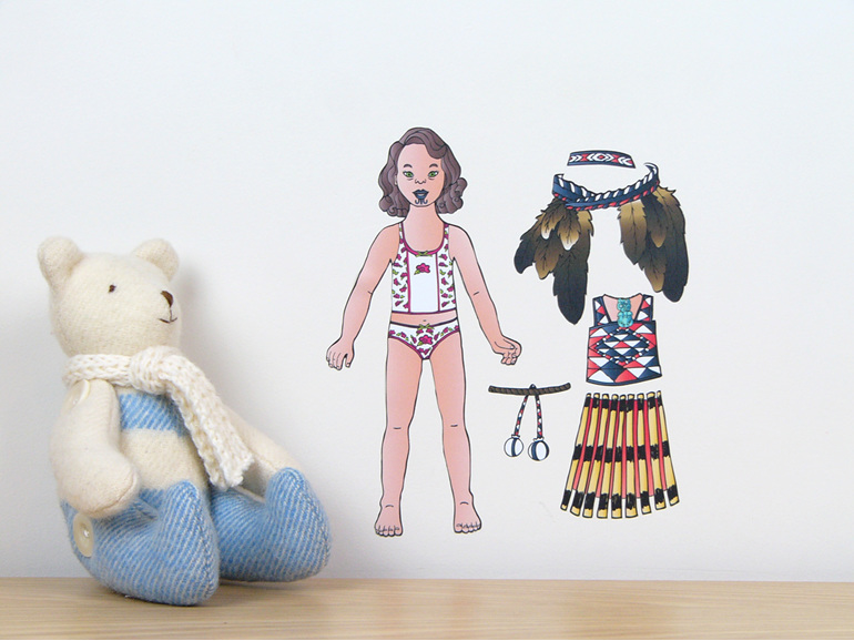 Maori Costume dress up doll wall decal