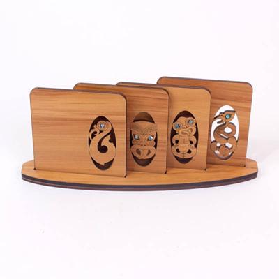 Maori Design Coasters in Stand