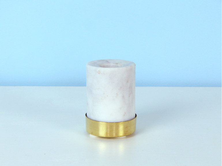 Marble and brass candleholder