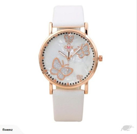MARBLED BUTTERFLY WATCH - WHITE