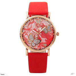 MARBLED BUTTERFLY WITH RED STRAP WATCH