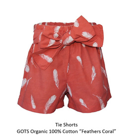 'Marlene' Front Tie Shorts, 'Feathers Coral' GOTS Organic Cotton, 3 years