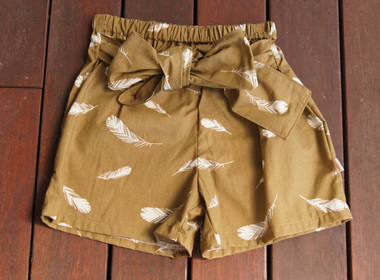 'Marlene' Front Tie Shorts, 'Feathers Olive', GOTS Organic Cotton, 2 years