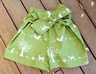 """Marlene"" front-tie shorts, 'Forest Friends' GOTS Organic Cotton, 4 yrs"