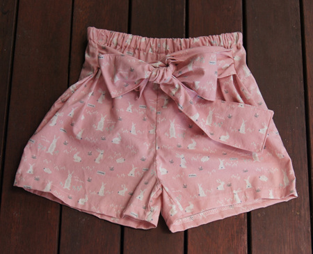 'Marlene' front-tie shorts, 'Hello Bunny, Pink' 100% Cotton, 2 years