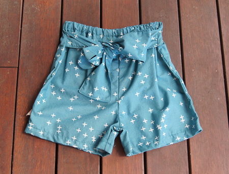 'Marlene' Front Tie Shorts, 'Wink Teal' GOTS Organic Cotton, 2 years