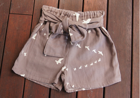 'Marlene' Tie Front Shorts, 'Flight Shroom' GOTS Organic Double Gauze, 2 years