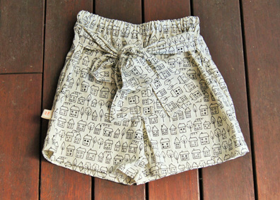'Marlene' Tie Front Shorts, 'Summer Town' 100% Cotton, 2 years