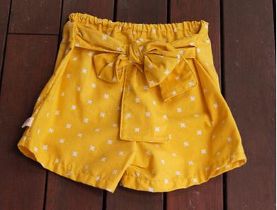 'Marlene' Tie Front Shorts, 'XOXO Dandelion' 100% Cotton, 3 Years