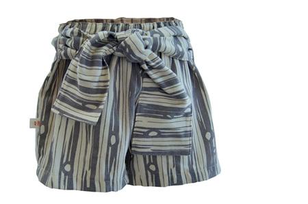 'Marlene' Tie Shorts, 'Bear Bois' GOTS Organic Cotton Canvas, 2 years