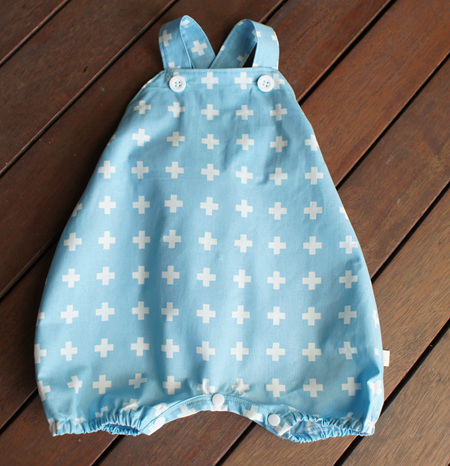 'Marlow' cross-back romper with crotch snaps, 'Aqua Plus' 100% Cotton, 2 years