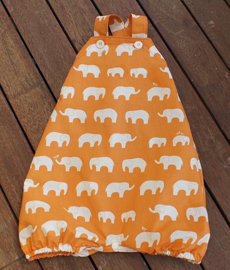 'Marlow' cross-back romper with crotch snaps, 'Ele Family, Orange' GOTS Organic Cotton, 3-6 mths