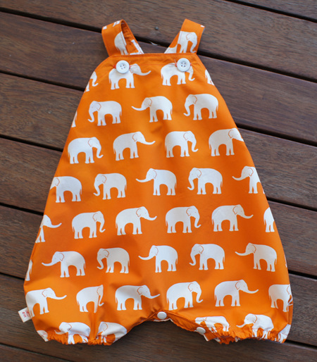 'Marlow' cross-back romper with crotch snaps, 'Herd, Orange' 100% Cotton, 3-6 mths
