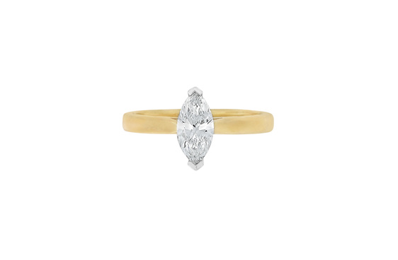 Marquise Diamond Engagement Ring, Solitaire Engagement Ring, 18ct Yellow Gold