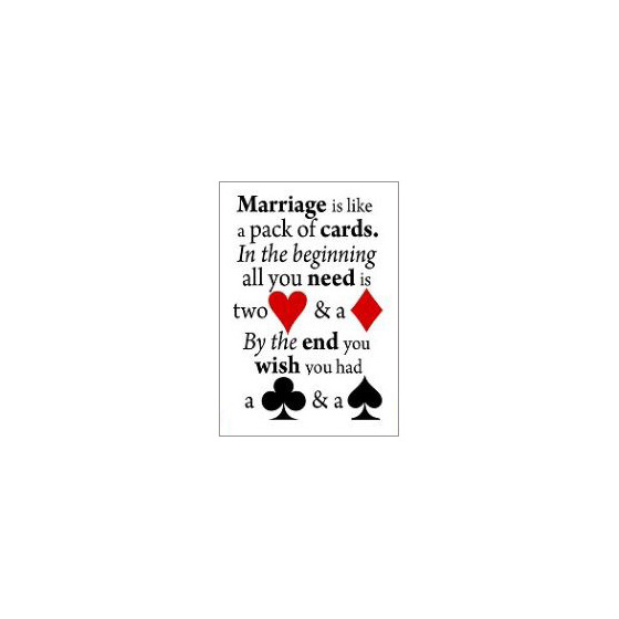 marriage is like a pack of cards fridge magnet