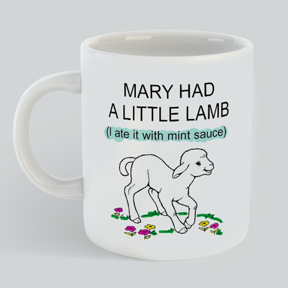 Mary Had Lamb ate mint sauce mug