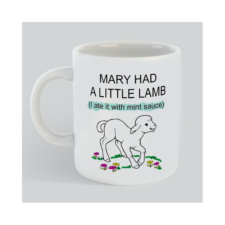 Mary Had Lamb ate mint sauce mug