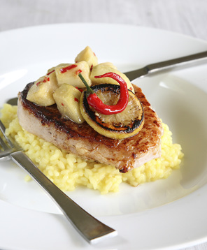 Mashed potatoes, grilled fish with lemon and chilli