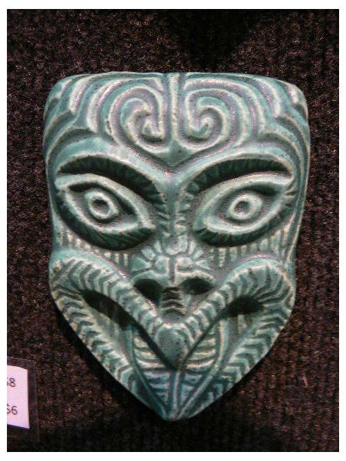 Mask 1 - small ceramics wall hanging NZ Maori influenced mask