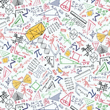 Math and Science Math Doodles on Grid White C8230