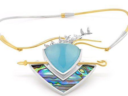 'Maui' Topaz  & Paua Pendant - 2nd Place Design Excellence MJSA Vision Awards