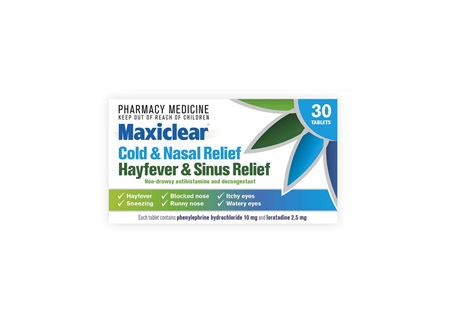Maxiclear Cold and Nasal/Hayfever and Sinus Relief 30s