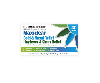 Maxiclear Cold  NasalHayfever  Sinus Relief 30s