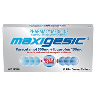 Maxigesic 500mg/150mg 12 Tablets