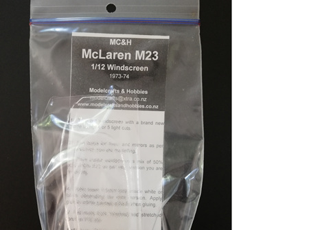 MC&H 1/12 McLaren M23 Windscreen 1973-74