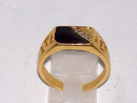 Mens four Clear CZ Gold Ring Size 10