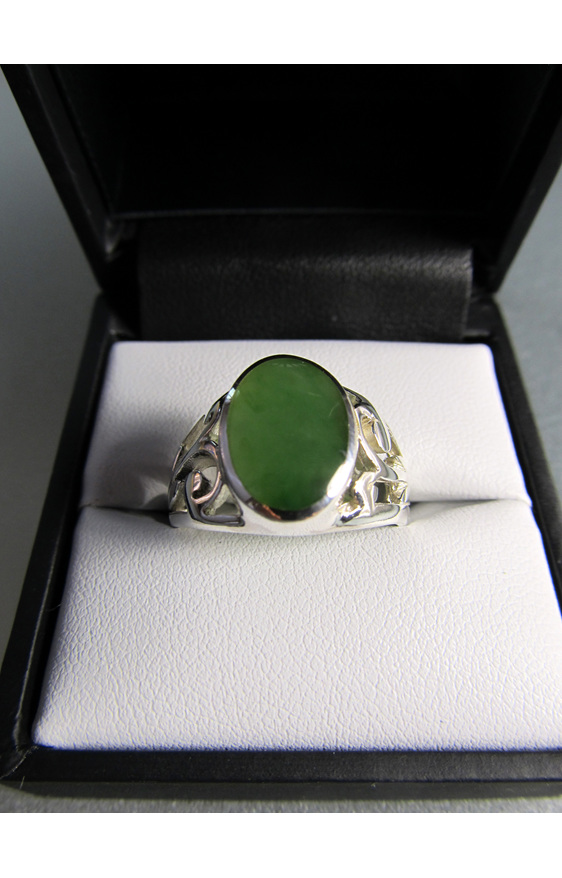Mens greenstone ring with koru detail.
