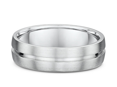 Mens Grooved Inset Wedding Ring