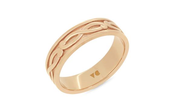 mens koru detailed mens wedding ring in 18ct rose gold