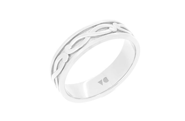 mens koru detailed mens wedding ring in 18ct white gold