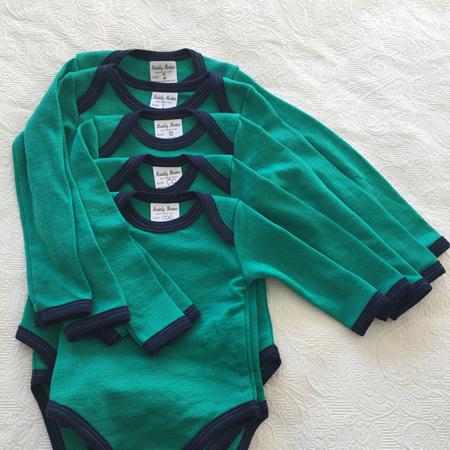 Merino Baby Onesie in Jade - Size 0
