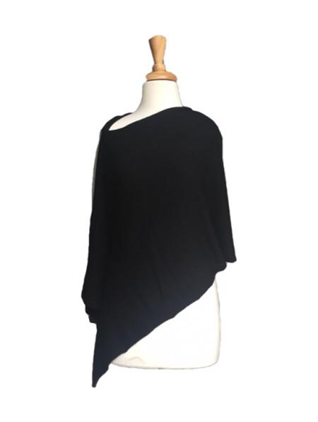Merino Blend Poncho - Black