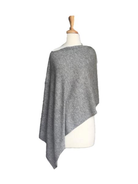 Merino Blend Poncho - Grey