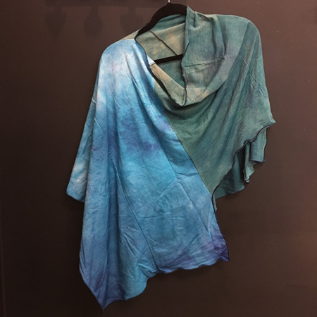 Merino Hand Dyed Poncho Blues