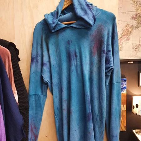 Merino Hoody - Hand Dyed - Blues & Turquoise