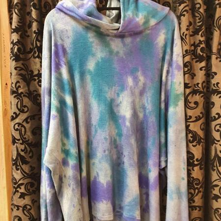 Merino Hoody - Hand Dyed - Purple & Jade